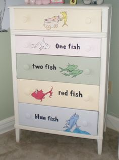 Dr Seuss Nursery Dresser..LOVE IT :D Although I am hoping IN THE FUTURE to do a Horton Hears A Who themed nursery. Half Whoville Half jungle :D