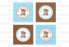 Printable DIY Blue and Brown Teddy Bear Theme Personalized Boy Baby Shower Thank You Favor Tags