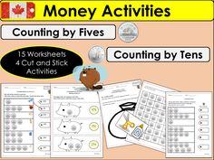 Canada: Count by 5s & 10s Nickels and Dimes Money Worksheets, Cut/Paste Activities, Matching