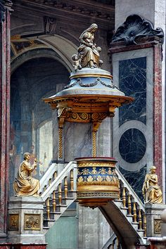 The ornate pulpit in the church of Saint-Sulpice, Paris