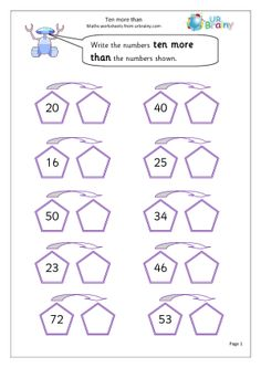 math worksheet : 1000 images about 10 more on pinterest  math worksheets  : Year 1 Math Worksheets