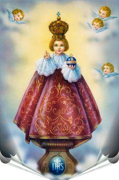 Infant of Prague Infant Jesus Novena, Jesus Childhood, Jesus Sketch, Sto Nino, Infant Of Prague, Saints, Lady Of Fatima, Religious Pictures, Man And Dog