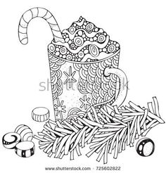 Mitten Coloring Page Coloring Page For Adults Hand Drawn