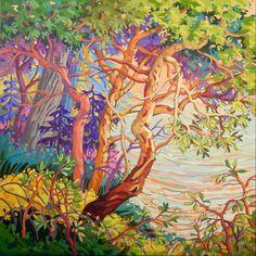 Past Work — Greta Grunow Guzek Watercolor Landscape, Landscape Art, Landscape Paintings, Landscapes, Crow Totem, Arbutus Tree, Mermaid Island, Tree Quilt, Canadian Art