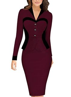 Plus Size Women One Piece Outfits Long Sleeve V Neck Knee Length Business  dress White Striped Elegant Office Formal Work Suit 37ddf14291ef