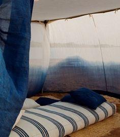 Indigo Tent glamping tie die