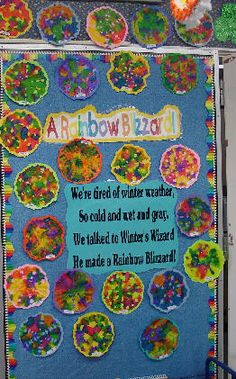 """Tie-Dyed coffee filter snowflakes: """"we talked to winter's wizard.. he made a rainbow blizzard!"""""""