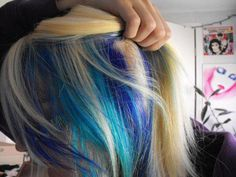 Blonde Hair with Sky Blue and Blue Peekaboo Highlights