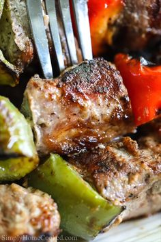 These juicy grilled pork kabobs (shashlik) are marinated in a garlicky red wine and grilled to smokey perfection. It's a dinner recipe perfect for summertime! day dinner surf and turf Grilled Pork Kabobs (Shashlik) Pork Kabob Marinade, Grilled Pork Steaks, Pork Skewers, Steak Kabobs, Shrimp Kabobs, Kebabs On The Grill, Chicken Kabobs, Kabob Recipes, Pork Recipes