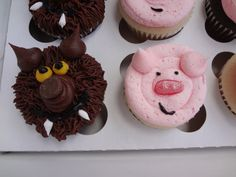 Three Little Pigs and the Big Bad Wolf Cupcakes by blissfulbites, $20.00