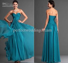 Wholesale New Style Strapless Floor Length A-line Evening Formal Dress Pleated Chiffon Long Reception Party Gown, Free shipping, $99.0/Piece | DHgate