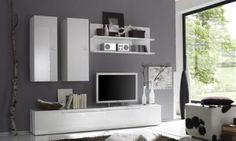 €. 355,00 Mobile soggiorno design moderno composto da una base porta-TV a ribalta, due colonne pensili e due mensole con pannello, tutto bianco laccato lucido.