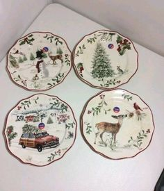 4 Salad Plates Heritage Christmas BETTER HOMES AND GARDENS Holiday Farmhouse | eBay & Maxcera holiday toile snowman nordic winter christmas salad plates ...