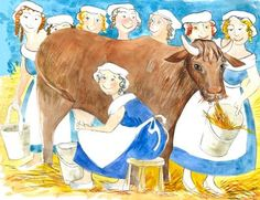 eight maids a milking clip art | Eight Maids A-Milking - Watercolour