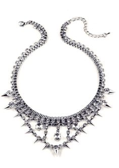 Electrifying and transcendent. This exceptional signature piece boasts an all-round box chain with diamante accents and intricate spikes detail upon the necklin