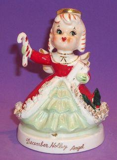 Vintage TMJ December Holly Angel Holding Candy Cane Spaghetti Trim Orig Sticker