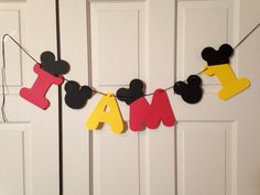 Mickey Mouse High Chair Birthday Banner by ParadiseParties on Etsy, $12.00