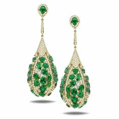 awesome earrings.. emeralds and diamonds