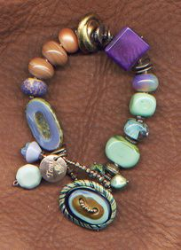 Aubergine & Sage Bracelet--mixed glassware $115