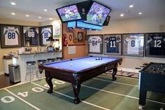 room design The Ultimate Game Room - Dallas Cowboys Style - Brooklyn Berry Designs Man Cave Room, Man Cave Diy, Man Cave Home Bar, Man Cave With Pool Table And Bar, Man Cave Game Room Ideas, Cool Man Cave Ideas, Man Cave Table, Attic Man Cave, Man Cave Garage