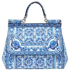 DOLCE & GABBANA Medium Sicily Dauphine Leather Bag - Blue/White (2,640 CAD) ❤ liked on Polyvore featuring bags, handbags, shoulder bags, purses, borse, bolsas, leather purse, white shoulder bag, leather handbags и blue leather handbag