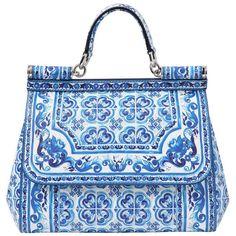 DOLCE & GABBANA Medium Sicily Dauphine Leather Bag (£1,565) ❤ liked on Polyvore featuring bags, handbags, shoulder bags, purses, borse, bolsas, leather shoulder handbags, blue handbags, genuine leather purse and genuine leather shoulder bag