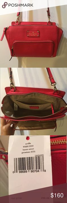 "Kate spade Sevilla Baxter street crossbody red New Kate spade crossbody with removable strap. Fun pop of color to any outfit! Genuine leather, shade is ""Geranium"" kate spade Bags Crossbody Bags"