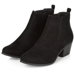 Black Suedette Low Chelsea Boots ($39) ❤ liked on Polyvore featuring shoes, boots, ankle booties, low black boots, block heel boots, elastic boots, kohl boots and low ankle booties