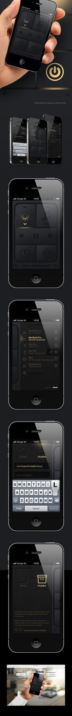 Simple mac remote (Concept) by Michal Galubinski, via Behance *** A simple application to manage your computer remotely. Web Design Mobile, Web Ui Design, Application Design, Ui Design Inspiration, Ui Web, Ipad, User Interface Design, Layout, Grafik Design