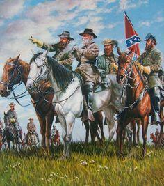 Confederate Generals: Longstreet, Lee, Stuart and Jackson.