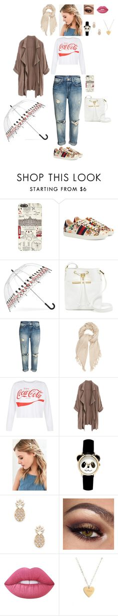 """""""Style an Outfit to Wear on a London Vacation #2"""" by leacousty55 ❤ liked on Polyvore featuring Harrods, Gucci, Fulton, Ted Baker, Isabel Marant, New Look, Urban Outfitters, Sole Society, Lime Crime and Seoul Little"""