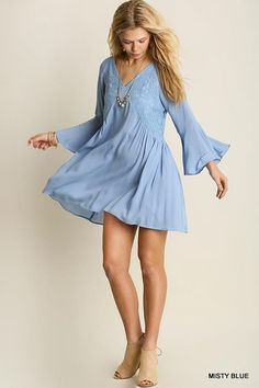 Umgee m blue summer floral lace peasant tunic bell sleeve sexy flowy mini  dress d768b40ec2c3