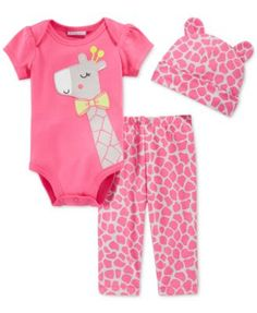 First Impressions Baby Girls' 3-Piece Giraffe Bodysuit, Pants & Hat Set, Only at Macy's