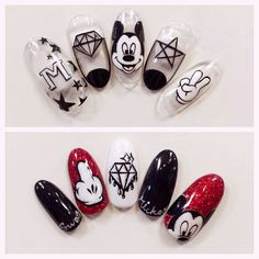 Nail art Christmas - the festive spirit on the nails. Over 70 creative ideas and tutorials - My Nails Coffen Nails, Nails 2018, Love Nails, Fun Nails, Pretty Nails, Acrylic Nails, Minnie Mouse Nails, Mickey Mouse Nails, Nail Art Disney