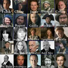 """Courtesy of """"Outlander Fans"""" the full cast to-date"""