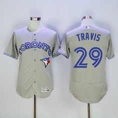 dc13c464c Blue Jays  29 Devon Travis Grey Flexbase Authentic Collection Stitched MLB  Jersey