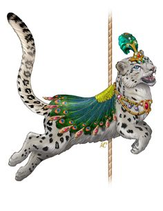 Rajah, the Snow Leopard - Historic Carousel & Museum of Albany Carousel Museum, Terryl Whitlatch, Carosel Horse, Merry Go Round, Vintage Circus, Snow Leopard, Fantasy, Beautiful Horses, Illustrations