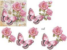 papillon Decoupage Vintage, Vintage Diy, Clip Art Vintage, Vintage Paper Crafts, Napkin Decoupage, Vintage Flowers, Vintage Floral, Flower Prints, Flower Art