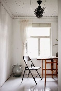 whitewashed working space.