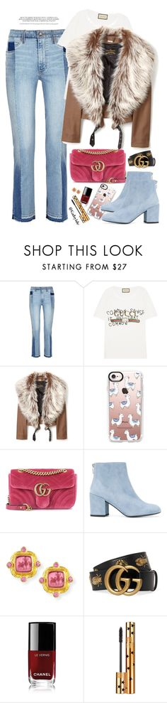 """Casual denim"" by gabyidc ❤ liked on Polyvore featuring Paige Denim, Gucci, Vivienne Westwood Anglomania, Casetify, Stuart Weitzman, Elizabeth Locke, Chanel and Yves Saint Laurent"
