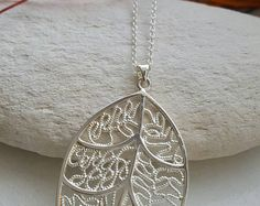 Long Silver Filled Leaf Necklace !!!