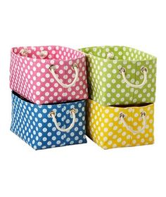 Polka Dots....perfect to store school items in.  Yellow complements the Black/white Polka Dots and Daisies.  (SchoolGirlStyle)