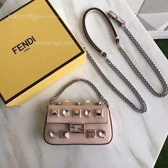Fendi Micro Calfskin Baguette Bag With Studs and Rhinestones Pink 2017 Fendi Purses, Fendi Bags, Chanel Wallet, Chanel Black, Vintage Handbags, Medium Bags, Michael Kors Jet Set, Shopping Bag, Dust Bag