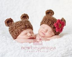Baby Girl Hat and Baby Boy Hat  Bear Hat Twin Pack to by PhylPhil, $40.00