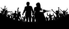 Young couple, man and woman among the crowd. Crowd of people silhouette vector. Wedding Silhouette, Silhouette Images, Silhouette Vector, Invites, Wedding Invitations, Youth Cheer, Young Couples, Royalty Free Photos, Crowd