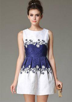 Blue White dress by Vassiliki by VassilikiDesigns on Etsy