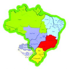 Quebra Cabeça de Madeira / Mapa Estados e Capitais, Mapa Newart, Mapa de madeira quebra cabeça, quebra cabeça de madeira, mapa do Brasil de madeira, mapa