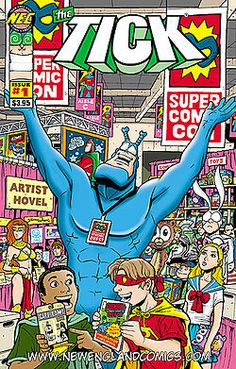 """""""The Tick is a fictional character created by cartoonist Ben Edlund in 1986 as a newsletter mascot for the New England Comics chain of Boston area comic stores. He is an absurdist spoof of comic book superheroes. After its creation, the character spun off into an independent comic book series in 1988, and gained mainstream popularity through an animated TV series on Fox in 1994. A short-lived live-action TV series, video game, and various merchandise have also been based on the character."""""""