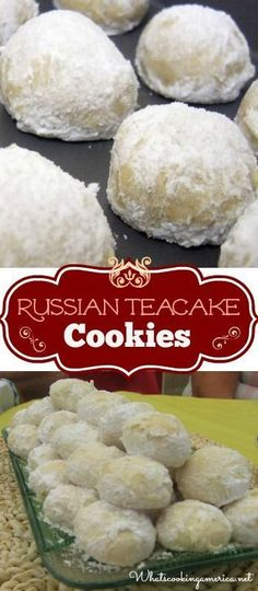 Russian Tea Cake Cookie Recipe Russian Teacakes Cookies Recipe (Mexican Wedding Cakes, Swedish Tea Cakes, Snowballs or Butterball Cookies) Tea Cake Cookie Recipe, Tea Cake Cookies, Brownie Cookies, Cookies Et Biscuits, Cupcakes, Moon Cookies, Tea Biscuits, Cookies Vegan, Buttermilk Biscuits