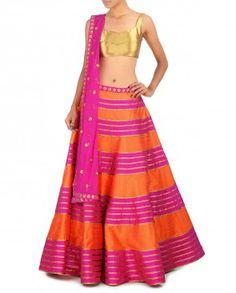 Pink and Orange Striped Lengha Set